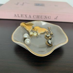 Vintage Gold Leaf Gray Ring/Jewelry Vanity Dish